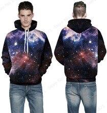 Psychedelic галактики активным пространство пуловеры хип-хоп звезда карман толстовка скейтборд рукав
