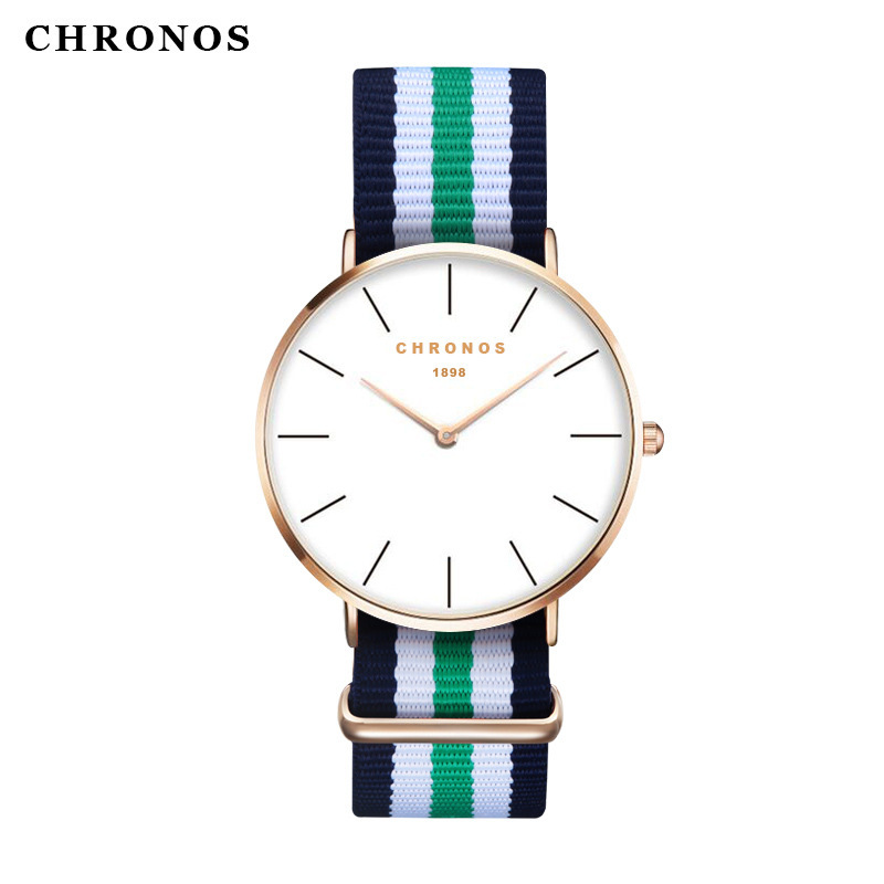 Fashion Lovers Watch CHRONOS Brand For Men 41mm Dial Simple NATO Nylon Braided Waterproof Unisex Quartz Wrist Watches Women CH02 цена