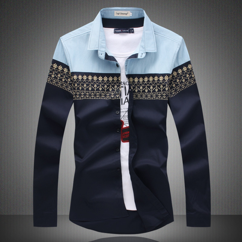 Aliexpress.com : Buy Big Size New 2017 Mens Shirt Slim Fit Fashion ...