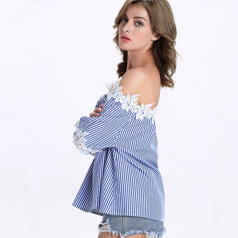 Blusas de las mujeres Del Verano elegante Del Cordón del hombro de la raya camis