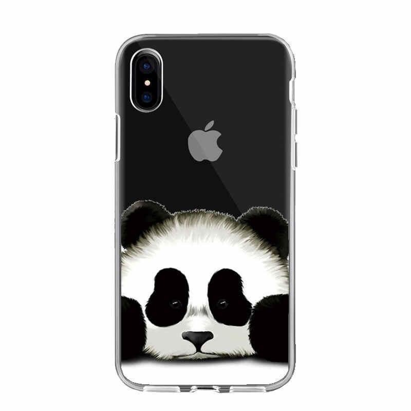 حافظة هاتف مُزينة بطباعة أسد باندا جبال الألب لهاتف Coque iPhone 11 Pro X XS Max XR 5 5s SE 6 6S 7 8 Plus 8 Plus Fundas Shell