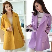 Women Autumn Coat Double Breasted Wool Peacoat Turn-down Collar Female Jacket AIC88