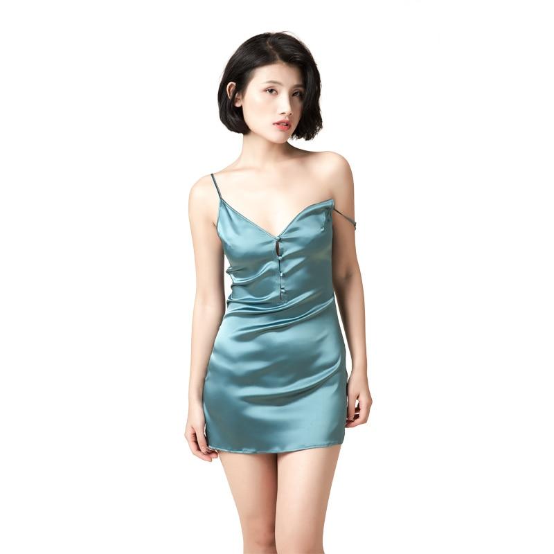 Femmes 100% vraies chemises de nuit en soie Lingerie Sexy v-cou chemise de nuit vêtements de nuit robes de nuit mûrier soie chemises de nuit pour les femmes