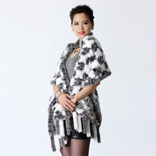 Elegant Ladies Pashmina Mujer Luxury brand scarf 2016 latest 100% real rex rabbit fur knitted long scarves fur cape for women