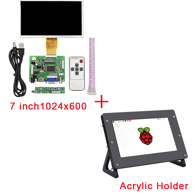 7 inch Raspberry Pi 3 LCD Display 1024*600 TFT Monitor Screen + Acrylic Holder + Drive Board for Raspberry Pi 2 for Orange Pi 3 5 inch touch screen tft lcd 320 480 designed for raspberry pi rpi 2