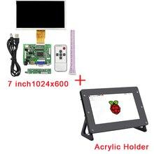 Best price 7 inch Raspberry Pi 3 LCD Display 1024*600 TFT Monitor Screen + Acrylic Holder + Drive Board for Raspberry Pi 2 for Orange Pi