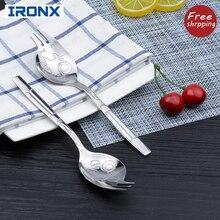 IRONX Creative salad fork spoon  stainless steel salad servers dinnerware set lovely cartoon style talbleware 2 PCS/Set