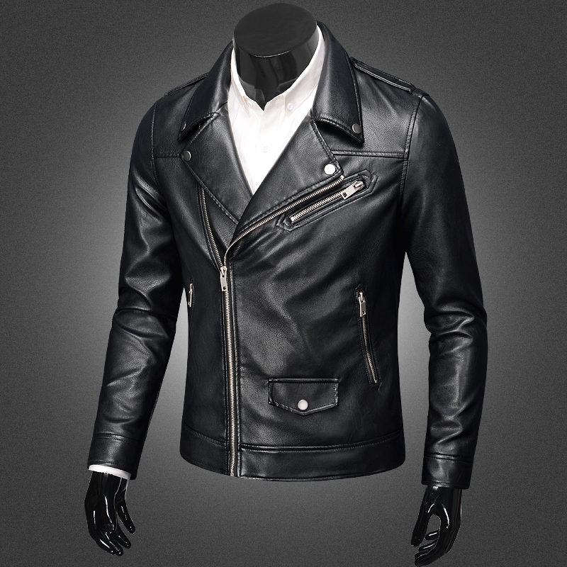 Hot Men High Quality New Spring Fashion PU Leather Jackets Men's Brand Motorcycle Oblique zipper pocket Leather Jacket Coats
