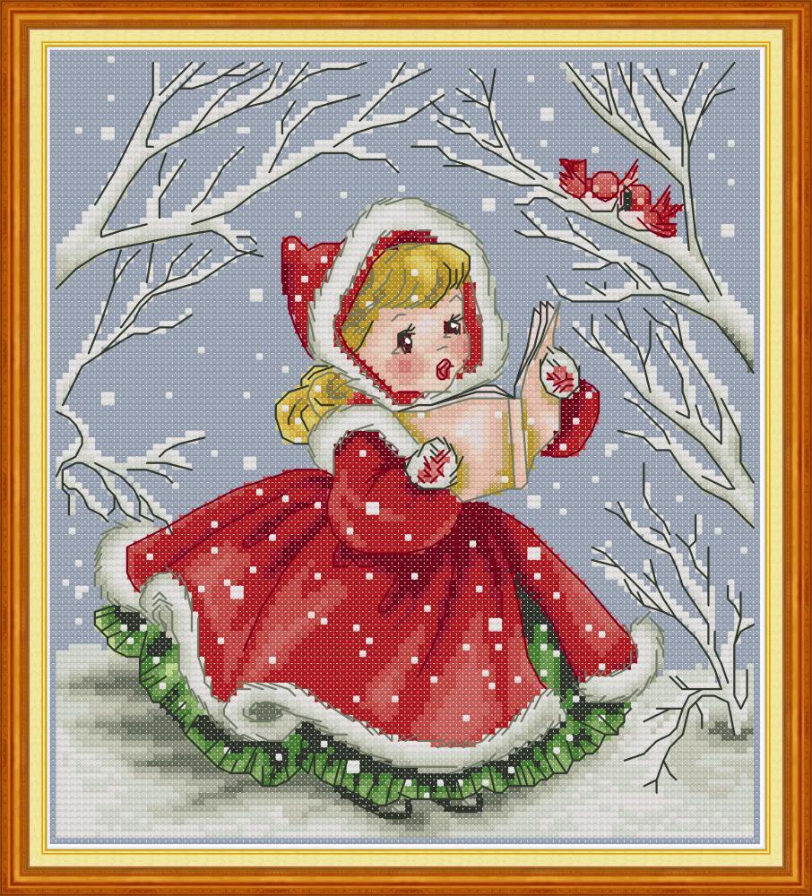El muñeco de nieve Partido Dmc puntada cruzada contada Kit 14 cuenta Aida Con Brillo
