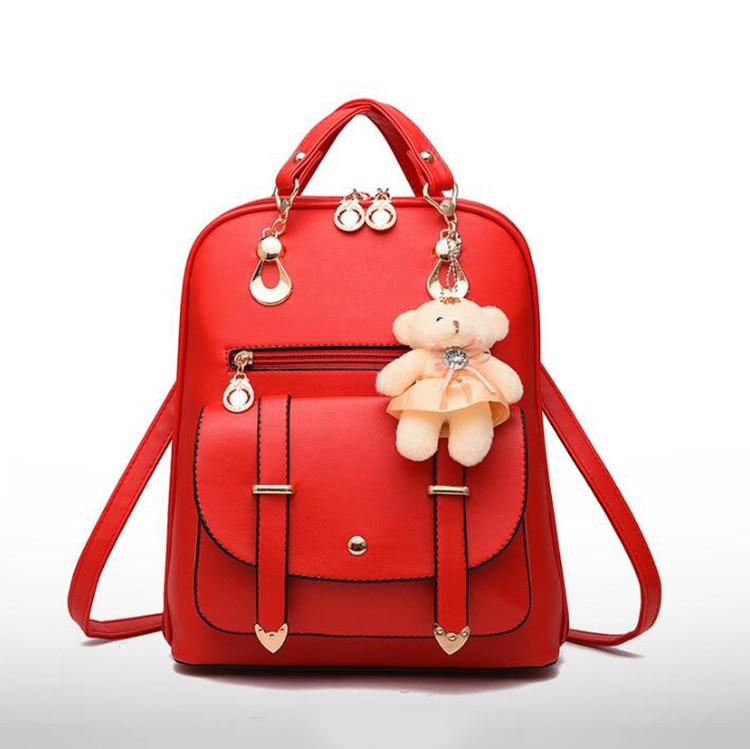 HTB1ydyZDXGWBuNjy0Fbq6z4sXXa9 Preppy Style Women Backpack Bear Toys PU Leather Schoolbags for Teenage Girls Female Rucksack Shoulder Bag Travel Knapsack