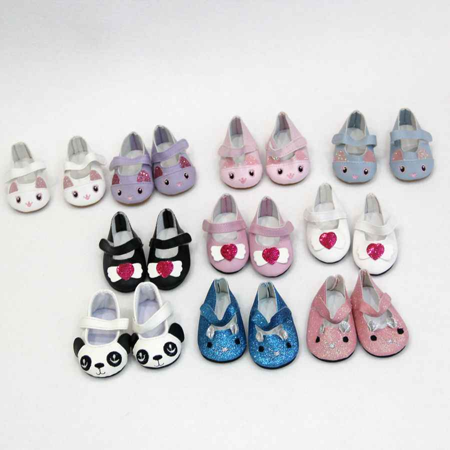 New Fashion For 43cm Baby New Born Dolls Shoes For Reborn Bebe Doll Shoes 7cm Mini Leather Shose 18 Inch Girl Doll Cute Shoes