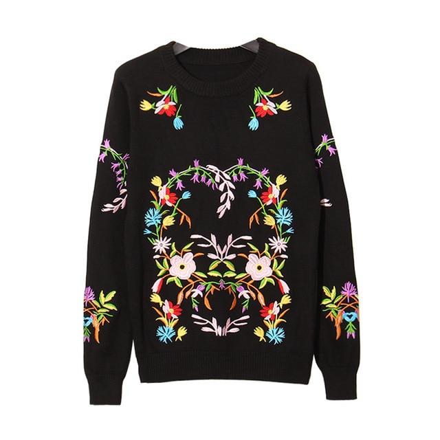 Мелинда Стиль 2016 новая мода женщин свитер вышивка цветочный узор трикотажные топ бесплатная доставка