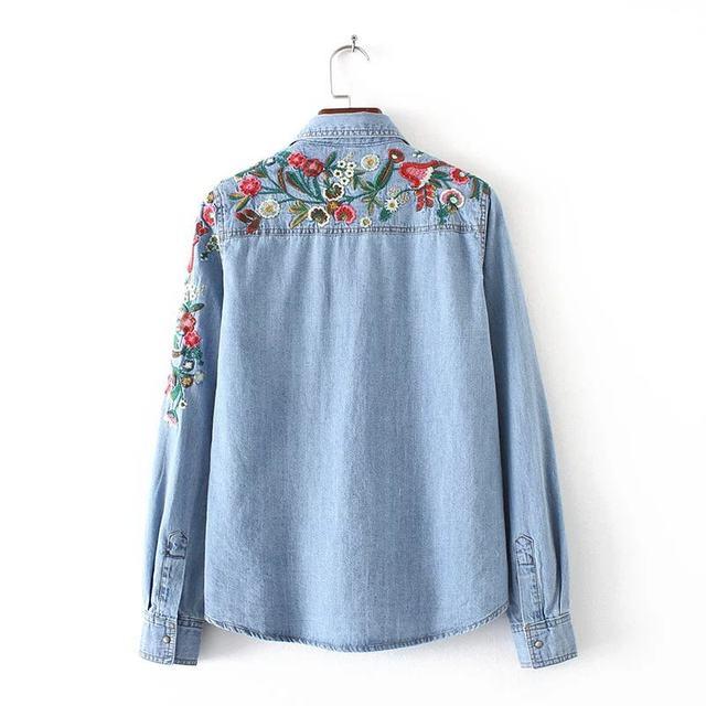 2017 Spring autumn floral embroidery denim shirt women floral design  oblique women blouses jean shirt ladies