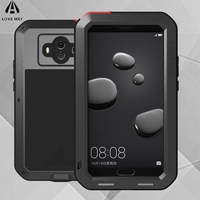 LOVE MEI Aluminum Metal Shockproof Case For Huawei Mate 10 Case Life Waterproof Glass Cover Fundas
