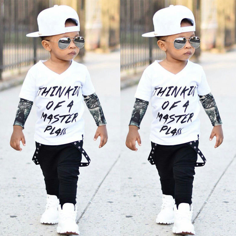 US $5.79 21% OFF|Cool Jongens Kleding Set Pasgeboren Baby Baby Boy Cool Ontwerp Graffiti Vest Top t shirt + Broek 2 stks Outfits Kinderkleding Set 0