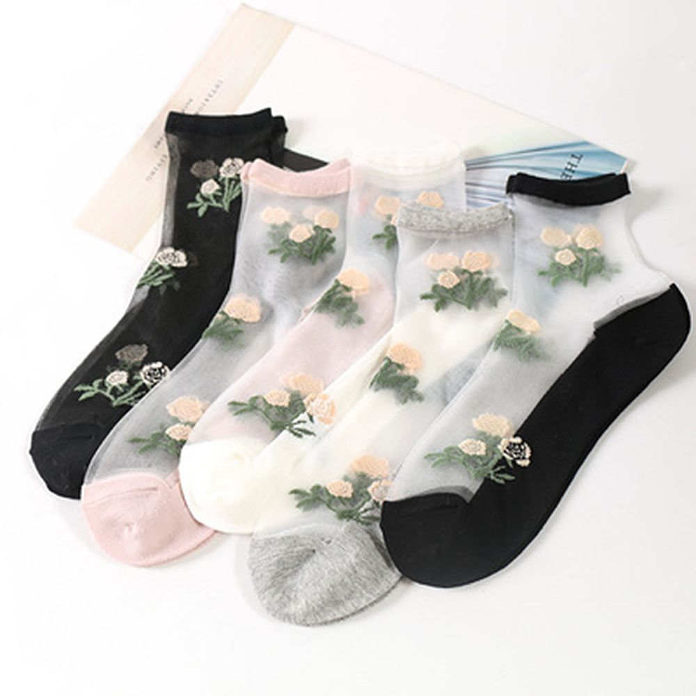 Ultra-thin Crystal Silk Socks Woman Cotton Bottom Summer Rose Jacquard Crystal Socks Flower Glass Silk Ankle Socks
