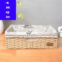 Straw storage basket imitation rattan desktop snacks debris box drying rack kitchen
