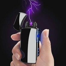 Ветрозащитный Творческий Touch Индукционная электрическая Количество дисплей USB двойной дуги плазменная Зажигалка электронные сигареты, сигары, зажигалки