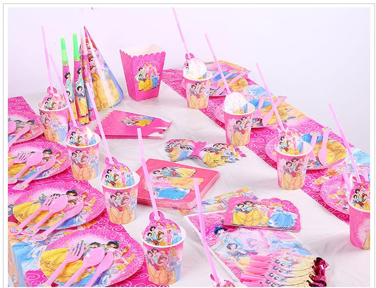 132pcs Princess Party Favors Knifes Forks Children Birthday Party Decorations Kids Party Supplies Birthday Disposable Tableware in Disposable Party Tableware from Home Garden