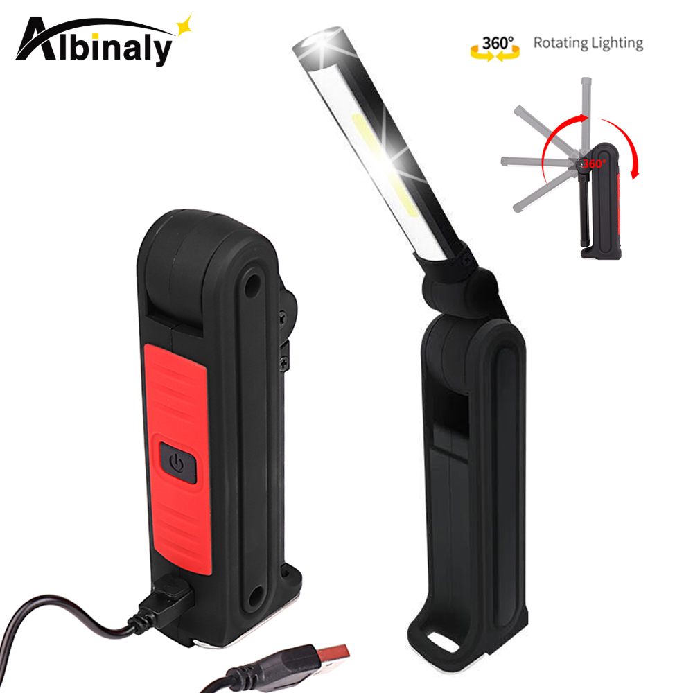 Usb Rechargeable Cob Led Flashlight Work Light Inspection Light 4 Modes Tail Magnet Design Hanging Torch Lamp Waterproof