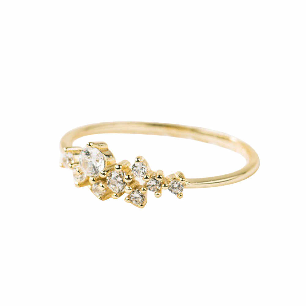 คริสตัล Simple 3 แหวน Zirconia ง่ายแหวนป้องกันโรคภูมิแพ้เครื่องประดับแหวนเครื่องประดับ Gorgeous Aneis Trinket
