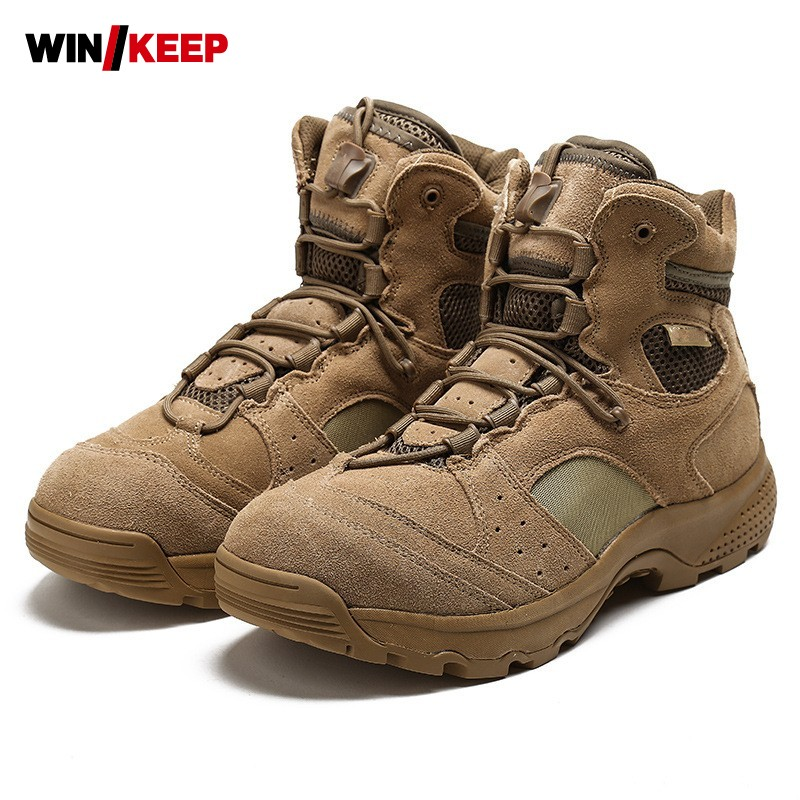 2017 Hiking Shoes Men Boot Outdoor Waterproof Climbing Fishing Hunting Leather Military Tactical Sneaker Breathable Combat Boots yin qi shi man winter outdoor shoes hiking camping trip high top hiking boots cow leather durable female plush warm outdoor boot