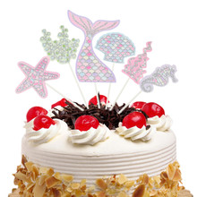 1 Set Mermaid Cake Toppers Flags Glitter Kids Birthday Ocean Cupcake Topper Wedding Baby Shower Party DIY Muslim Baking Xmas