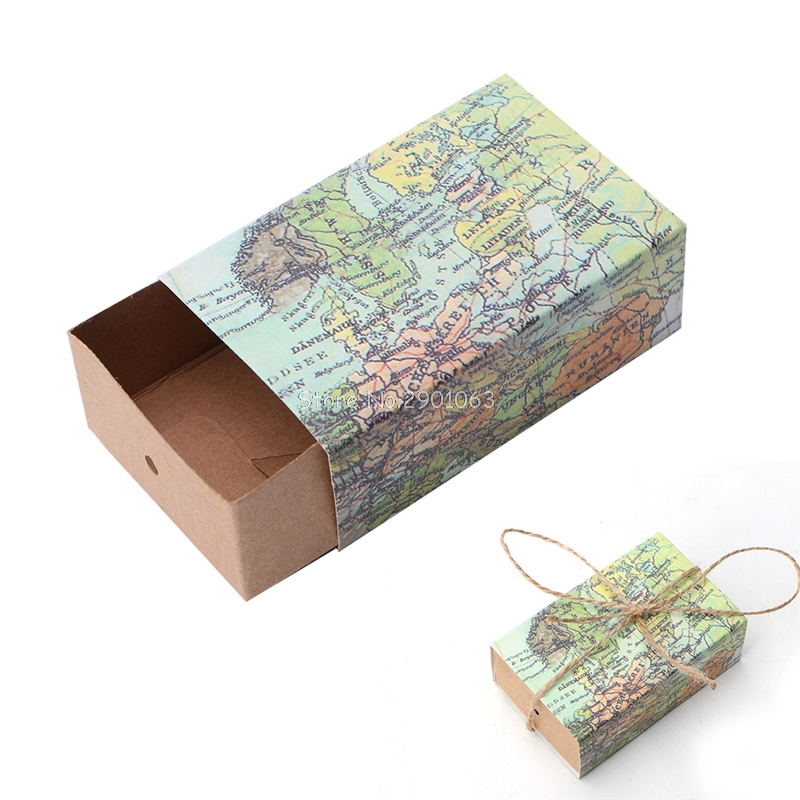 50Pcs Novelty World Map Gift Box Christmas Decorations Kraft Paper Candy Boxes for Guests Wedding Favors Gift Packing Bag