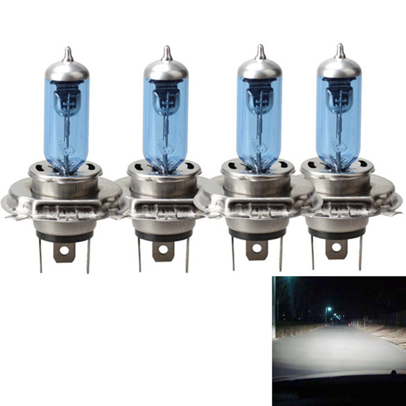 Hot 4 Pcs/Set 12V Car Safety  Light Bulb Headlight Lamp Blue Plated H4 P43T BX