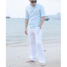 Новинка, модель высокого качества мужские летние штаны для повседневной носки из натурального хлопка льняные брюки Белый лен эластичный по...(China (Mainland))