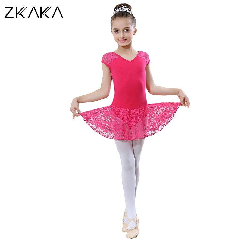 ZKAKA justaucorps pour filles à manches courtes costume collants s Costumes de Ballet Performance pratique porter des vêtements de danse - 3