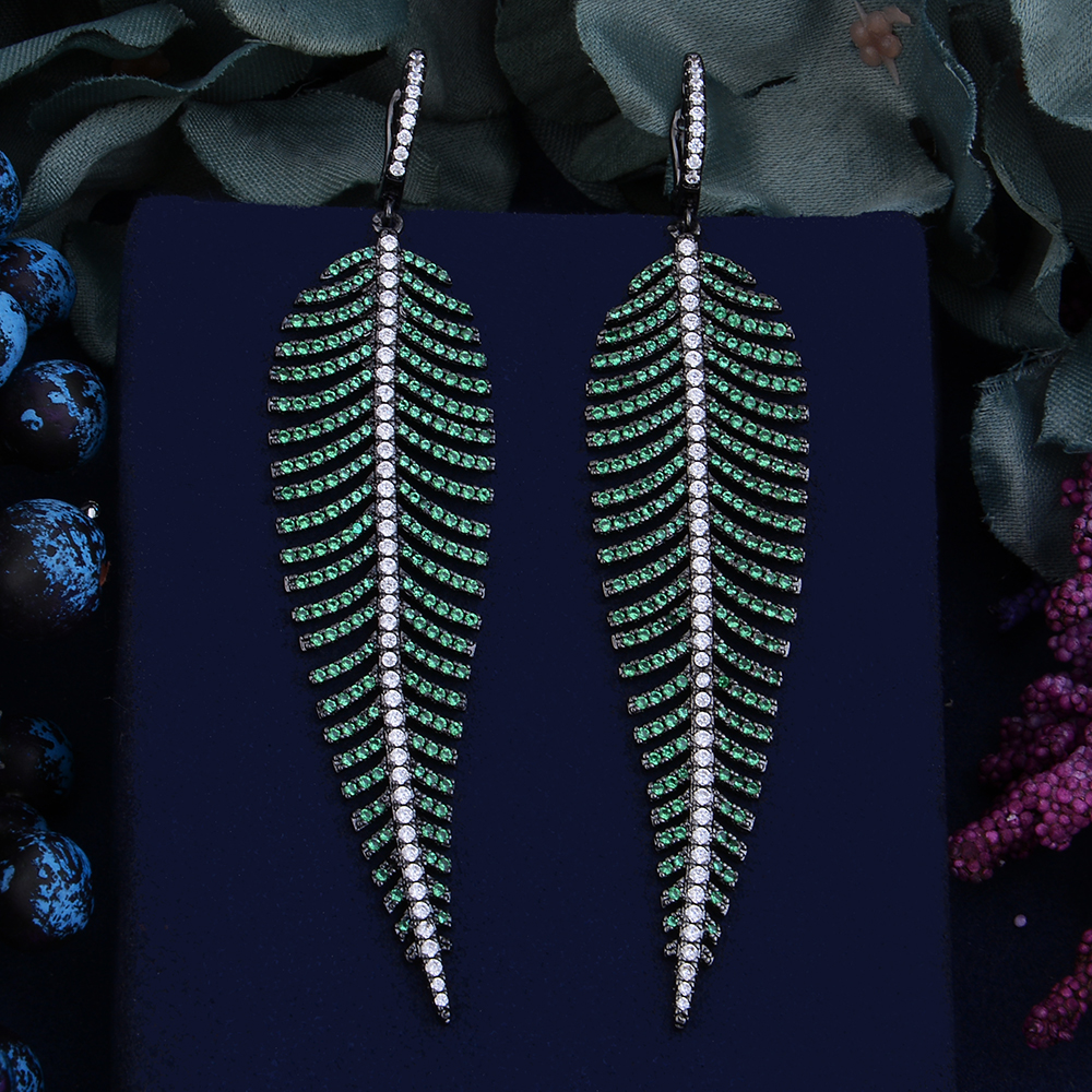 Image 3 - Godki 99mm luxo na moda folha de penas colorido zircônia cúbica  naija festa de casamento brinco moda jóias para mulherBrincos  compridos