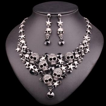 Skeleton Statement Necklace & Earrings Vintage Skull Jewelry Sets