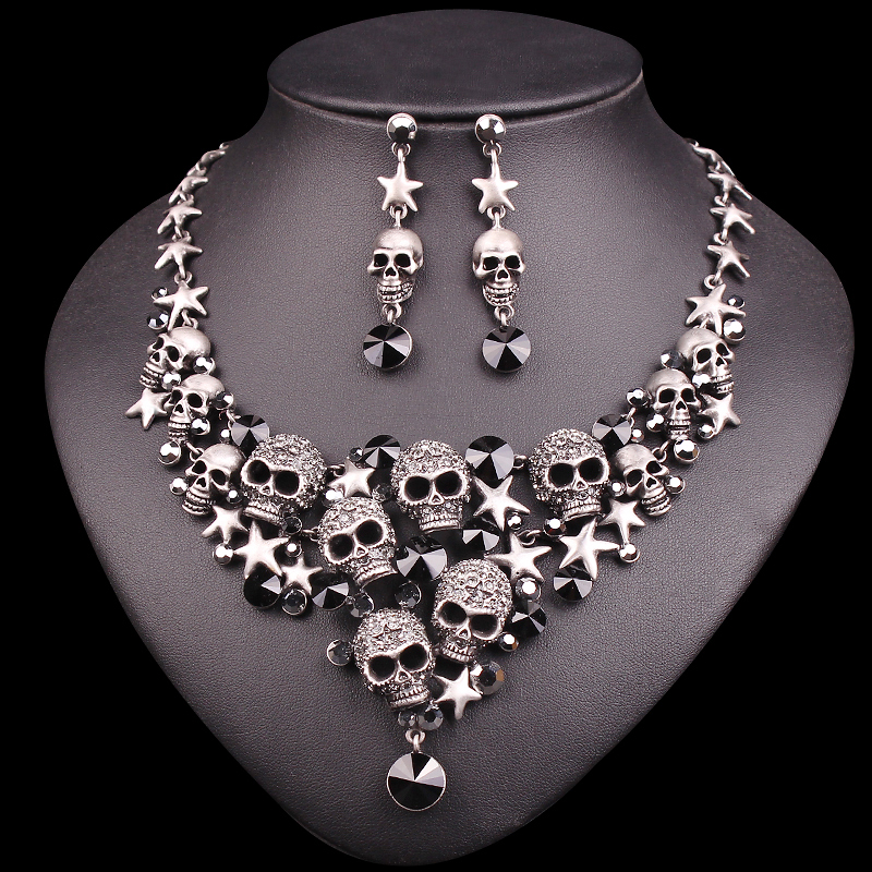 New Punk Rhinestones Skeleton Statement Necklace & Earrings Sets Vintage Skull Jewelry Sets Retro Stars Jewellery Gift for Women