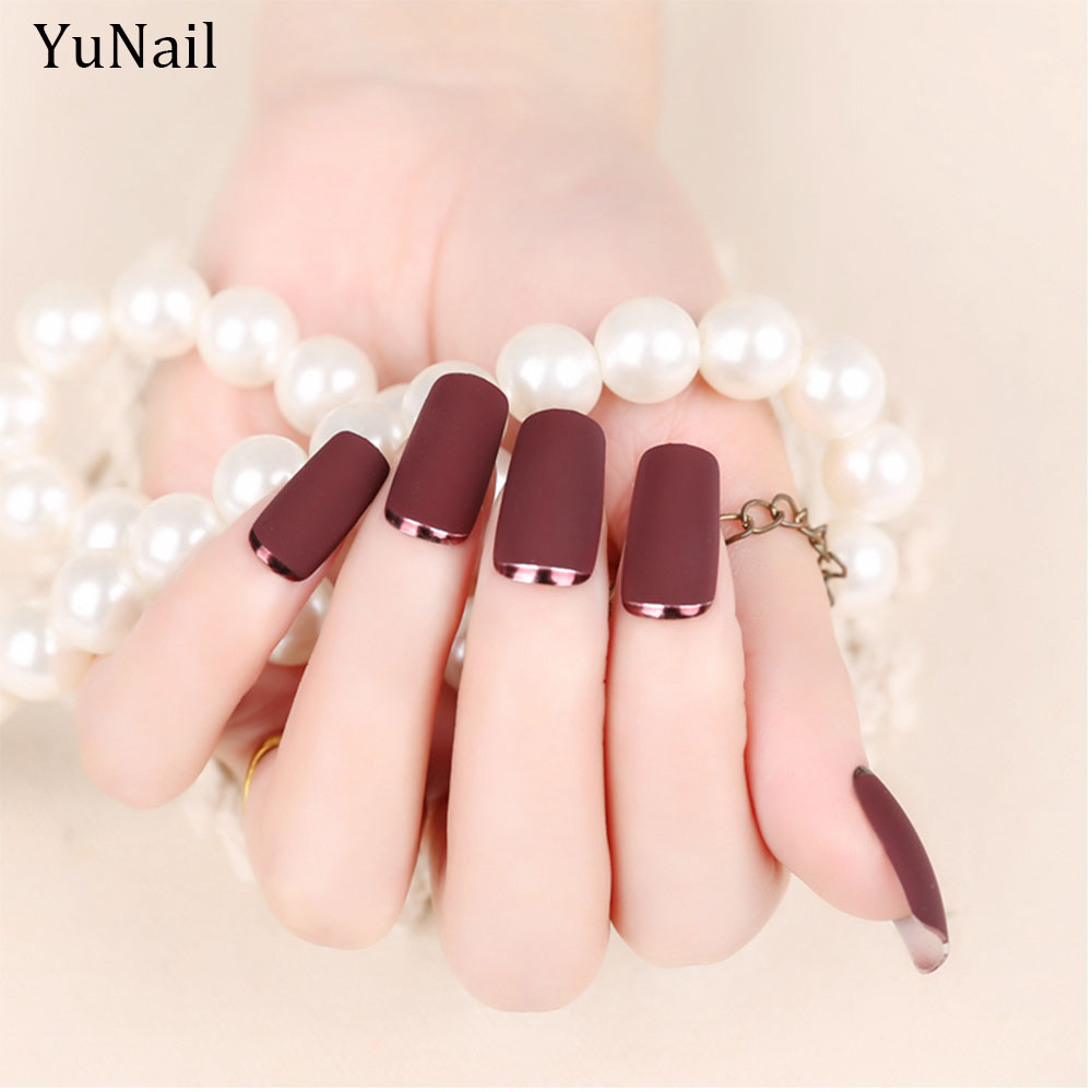 24pcs/Set Metallic Matte Full Nail Tips Long Design Metal Side Girls ...