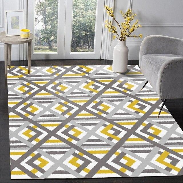 Moins cher Tapis de sol gris jaune géométrique tapis salon ...
