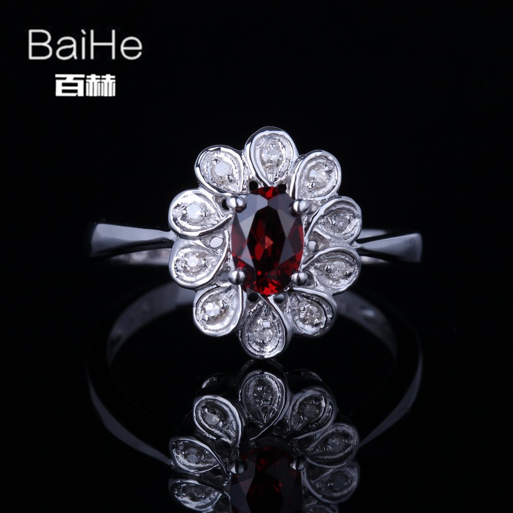 BAIHE Sterling Silver 925 0.624ct Certified Red Flawless Round CUT 100% Genuine Garnet Engagement Trendy Fine Jewelry Gift Ring цена