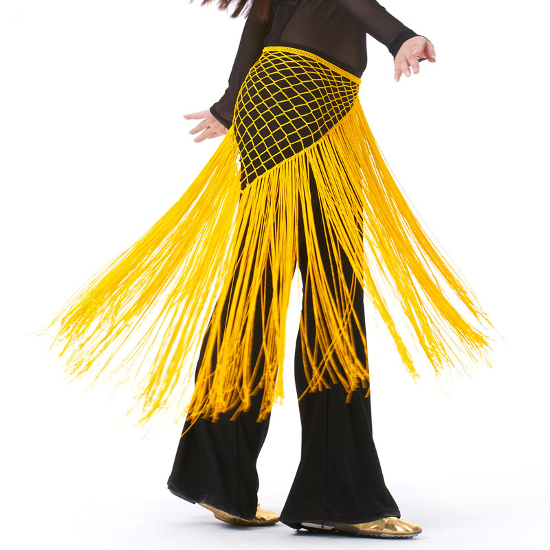 Argentina Style Belly Dance Clothes Accessories Practice Stretchy Long Tassel Triangle Belt Hand Crochet Belly Dance Hip Scarf