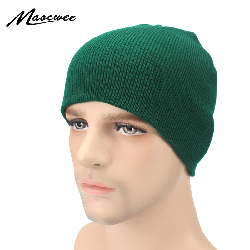 New Winter Hat Women Man Green Hat   Skullies     Beanies   Unisex Warm Hat Knitted Cap Hats For Men   Beanies   Simple Warm Cap Soft Cap