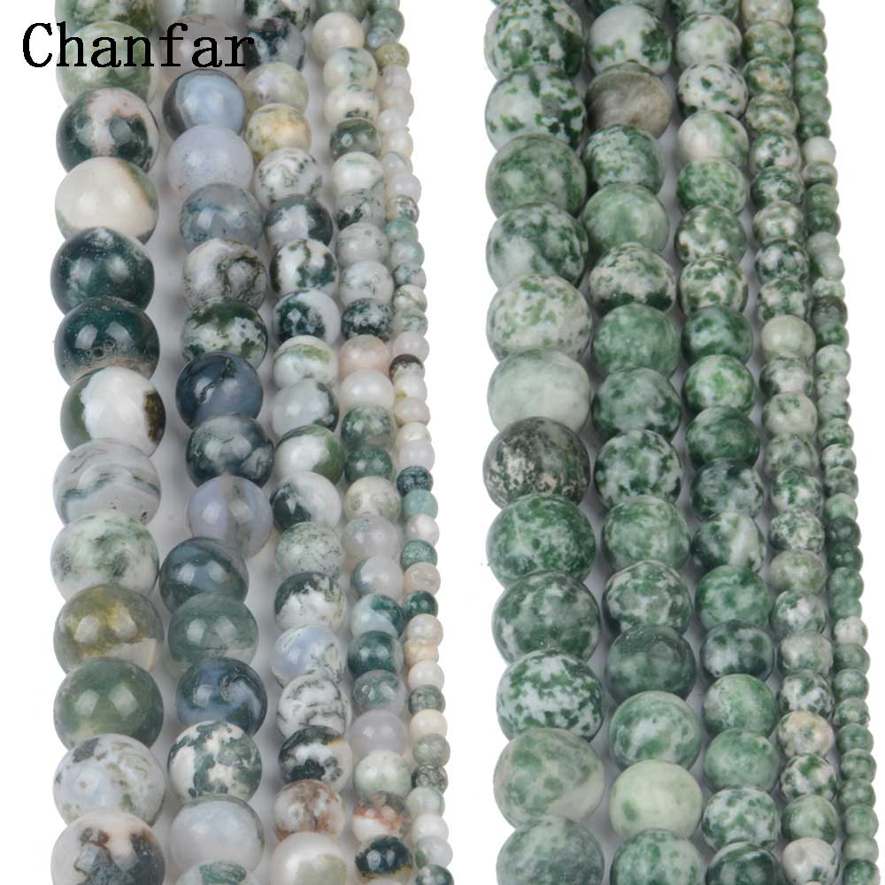 Tree stone Green Spot Beads Women Jewelry DIY Fashion Making Beads 4 6 8 10 12mm