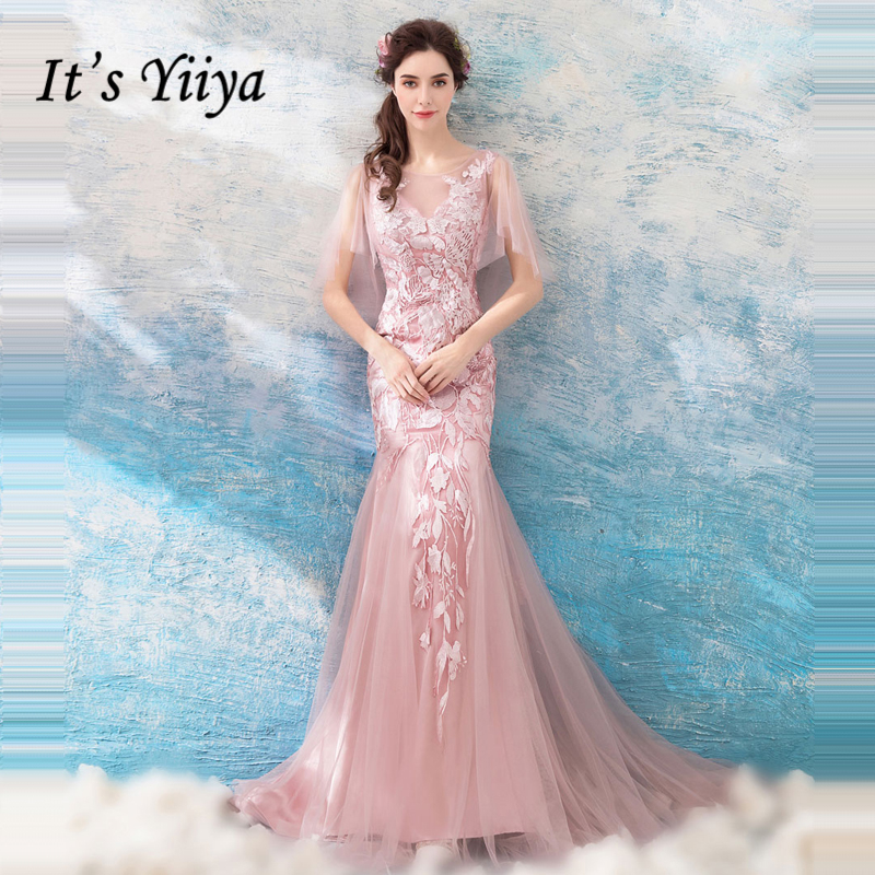 It's Yiiya Pink Evening Dresses 2018 Hot Sales Merimaid Embroidery Elegant Formal Dress for Party Fashion Designer LX872
