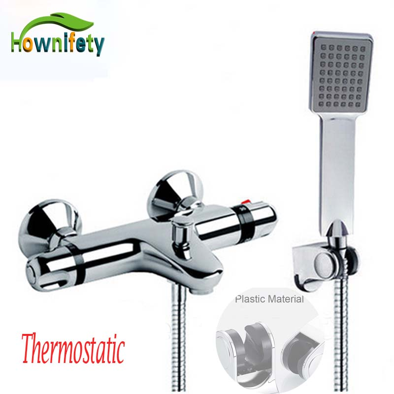 Chrome Dual Handles Thermostatic Valve Faucets Wall Mounted With ABS Handshower Tub Shower Mixer Bathroom Faucet polished chrome wall mount temperature control shower faucet set brass thermostatic mixer valve with handshower