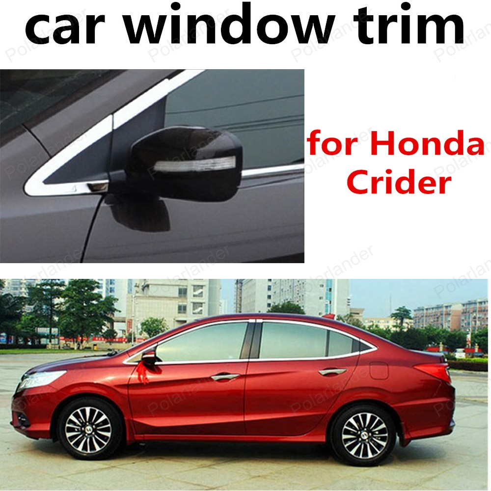new! for Honda Crider Stainless Steel Window Trim Without Middle Pillar Car Styling Decoration Strips stainless steel full window trim decoration strips for ford focus 3 sedan 2012 2013 2014 car styling car covers 20