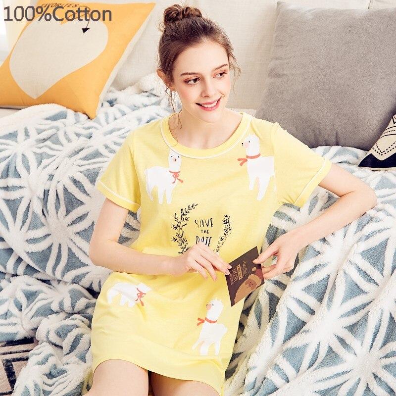 Summer Knitted Cotton O-neck Women Short Sleeved Sleepwear Mini Nightgowns Nightwear Nightdress Sleepwear Nightgown Sleepshirts