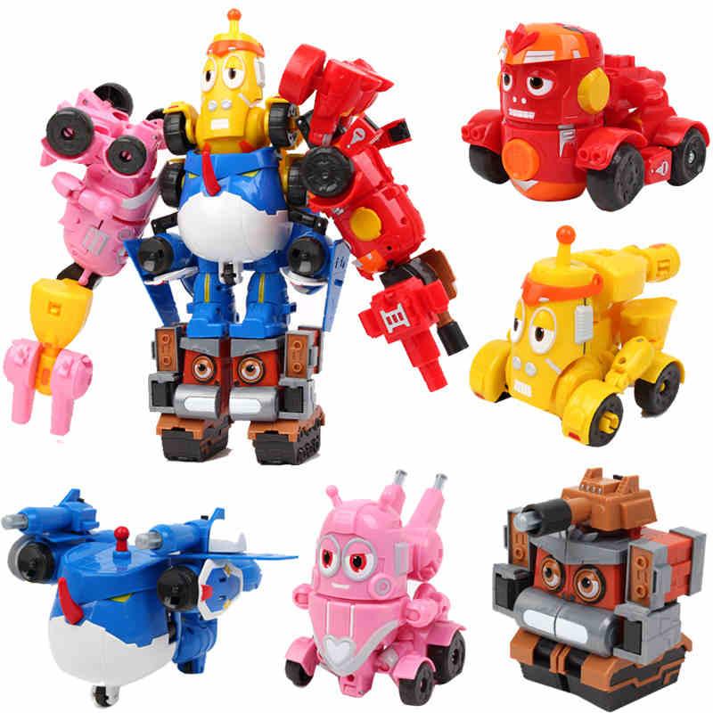 5 in 1 Set Robot cartoon Larva fun figures toys transformation mecha Voltron Car Children Birthday