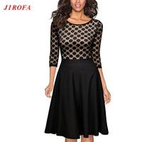 2017 Summer Polka Dot Dress Eleglant Black Vintage Woman Dresses 1950s Big Size Eveing Party A