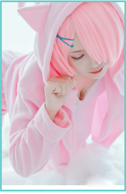 Pink/blue Rem Ram Pajama Set Re:Life in a Different World From Zero Cos Rem Ram Sexy Cat Ear Costume Women Anime Cosplay Pajamas 4