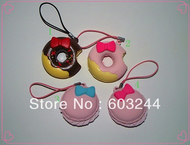 FreeShip 20 Pieces Hello Kitty Squishy Macaroon Bowknot Donut Cake Squishy Charm/Cell Phone Strap Xmas Gift With Retail Package