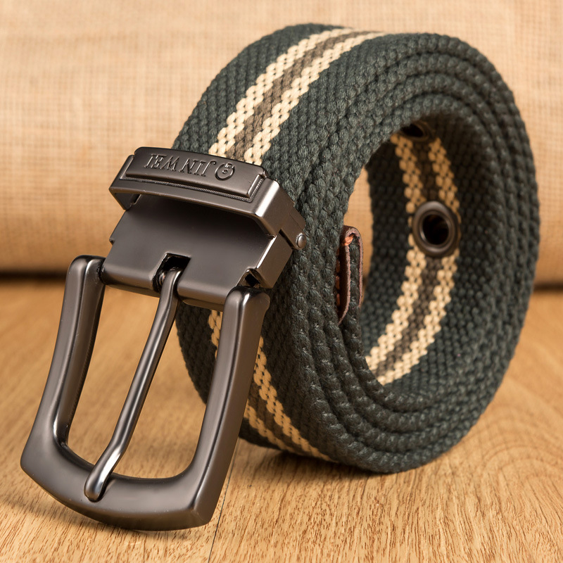 Young Men's pin buckle canvas   belt   For jeans Pants outdoor thick woven cloth long   belt   student   belt   tactical high quality 2019