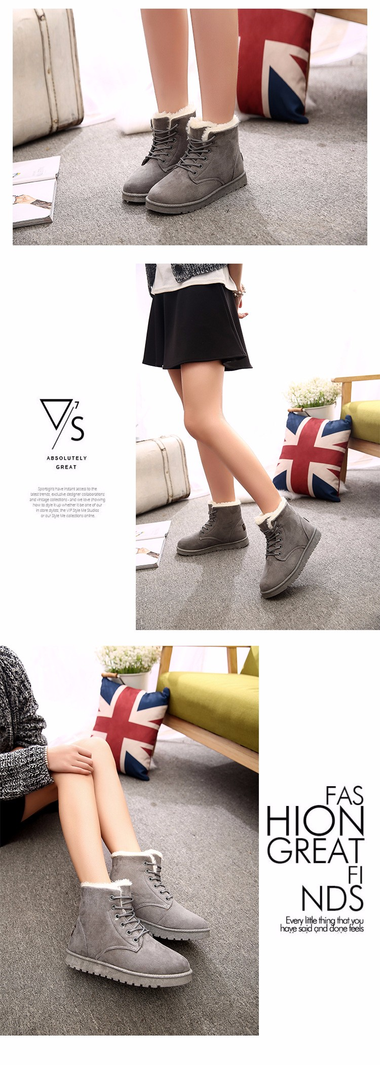 2016 Winter Woman Boots Lace-up Solid Flat Ankle Boots Casual Round Toe Woman Shoes Fashion Warm Plus Cotton Shoes ST903 (4)